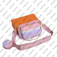 Wholesale round red bag resale online - M44823 Tie Dye MULTI POCHETTE ACCESSOIRES Round Coin Purse women canvas Natural cowhide leather mini suit wallet handbag shoulder bag