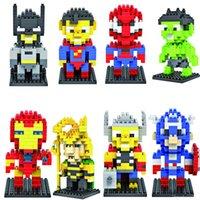 metal yapı taşları toptan satış-LOZ yapı taşları süper kahramanlar Elmas blokları model avengers 3D bulmaca çocuk oyuncakları eğitici oyuncaklar istihbarat DIY blok