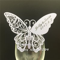 Wholesale butterfly card shapes for sale - Group buy 50pcs Butterfly Shape laser Cut Place name Seat Cup Card Wedding Invitation glass Cards text personalized