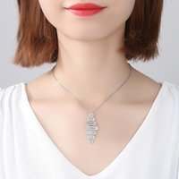 Wholesale luoteemi for sale - Group buy LUOTEEMI Fashion Rhombus Necklace for Women Wedding Party Exquisite Silver Gold Pendant Luxury Shiny CZ Collares Christmas Gift