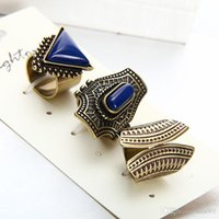 Wholesale whosale rings resale online - Whosale Hot Vintage Ring Set Punk Silver Gold Plated Stone Rings For Women Men Finger Ring Ring Set Best Selling New Fashion
