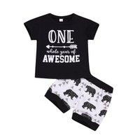 çocuklar fil t shirt toptan satış-Moda çocuk erkek siyah tişört kısa fil pantolon 2adet kıyafetler çocuklar erkek yaz gündelik kıyafet çocukların elbiselerini ayarlamak 0-2Y