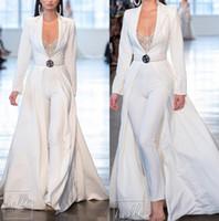 trajes de satén blanco al por mayor-Berta Monos blancos Vestidos de fiesta de satén de manga larga con chaquetas largas Tallas grandes trajes de fiesta Pantalones Trajes Vestidos de noche de fiesta