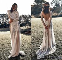 Wholesale simple summer long sleeve wedding dress resale online - Vintage Lace Backless Boho Beach Wedding Dresses Long Sleeve Nude Lining Country Bohemian Wedding Gowns Hippie Gypsy Bride Dress
