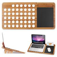 bambú portátil al por mayor-Tablero del escritorio del soporte del ordenador portátil del escritorio del soporte del ordenador portátil de bambú de la vuelta 13 pulgadas 15 pulgadas para el cojín de ratón incorporado de la tableta del ordenador portátil del MacBook Ordenador portátil