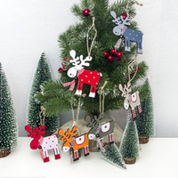 Wholesale chocolate drops for sale - Group buy Wooden Painted Elk Merry Christmas Tree Decoration Pendant Xmas Drop Natal Ornaments Christmas Decorations For Home Kids Gift