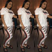 ingrosso discoteca top donne-2019 F Lettera Print Tuta da donna T-shirt manica corta + pantaloni 2pz Set NightClub Moda donna Tuta da due pezzi Abiti da jogging S-XXL C442