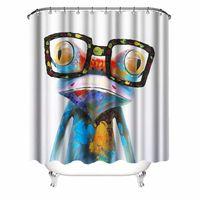 lindas cortinas de baño al por mayor-Cortina de ducha de rana Rana linda con gafas Impermeable Cortina de baño de tela con ganchos 72 * 72 pulgadas