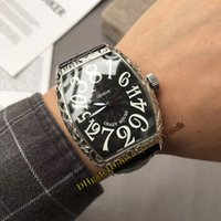 hora loca ver al por mayor-A estrenar CRAZY HOURS Nuevo 8880 CH Dial negro Automático Reloj para hombre Caja de acero tallada en plata Correa de cuero Relojes de alta calidad