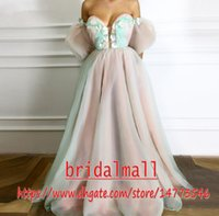 Wholesale making caps handmade for sale - Group buy Islamic Dubai Pink Green Formal Evening Dresses Handmade Flowers Sweetheart Formal Party Gowns Sweep Train Saudi Arabic Long Prom Dress