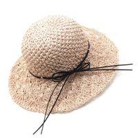 ingrosso largo pizzo crochet-Donne ragazze fatti a mano all'uncinetto tessuto pieghevole spiaggia cappello di paglia sole floppy largo bordo bowknot allacciatura protezione UV estate secchiello