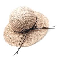 häkeln sommerhüte großhandel-Frauen Mädchen Handmade Crochet Weave Faltbare Strand Stroh Sonnenhut Floppy Wide Brim Bowknot Schnürung UV Schutz Sommer Eimer Kappe