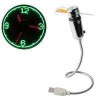 flash levou relógio venda por atacado-USB Led Gadget Flexível Mesa Mini USB Alimentado LED de Refrigeração Piscando em Tempo Real Display Função Relógio Ventilador SSA200