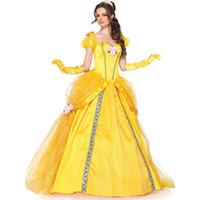 sarı kostümler toptan satış-2019 Moda Kostümleri Kadın Yetişkin Belle Elbiseler Parti Fantezi Kız Çiçek Sarı Uzun Prenses Elbise Kadın Anime Cosplay