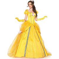 anime weibliche kleider großhandel-2019 Mode Kostüme Frauen Erwachsener Bellen Kleider Partei-Abend Mädchen-Blumen-gelbe lange Prinzessin Kleid Weibliche Anime Cosplay
