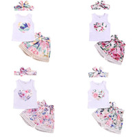 Wholesale loved baby clothing resale online - Headband Baby Girl Clothing Pieces sets Girl summer sets Love Flower print sleeveless Girl clothing sets