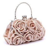 ingrosso borse bianche per l'estate-Pochette da donna floreale con pochette da sera per donna, da sera, da sposa, colore bianco, 5 colori
