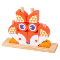 tahta tabanca oyuncakları toptan satış-Hayvan Mozaik Yapı Taşları Çocuk Erken Eğitim ve Fikri Geliştirme Oyuncaklar Montaj Yıkım Oyuncaklar için Ahşap Oyuncak