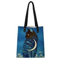 bolso azul de gato al por mayor-Mano personalizar la imagen de la PU de la piel de cordero Bolsa de la compra de la luna azul del gato del bolso de las mujeres Mochila Shouder bolsa de almacenamiento monedero Mango