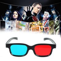 3d gözlük projektör toptan satış-Yeni Kırmızı Mavi 3D Gözlük Siyah Çerçeve için Boyutlu Anaglyph TV Film DVD Oyun Video Gözlük 3d Projektör için Dlp JSX