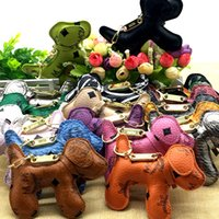 Wholesale Creative PU leather M letter puppy Keychain Hand stitched bag Hanging ornament puppy Key pendant gift