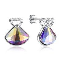 lustre de cristal real venda por atacado-Cabide Geométrica Real Cristal S925 Sterling Silver Stud Brincos Voltar Clássico Partido Do Diamante Elegante Lustre de Luxo Azul Jóias POTALA330