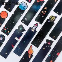 marcador de madeira dos desenhos animados venda por atacado-Cartão da mensagem Ezone 30Pcs / Set Planeta Bookmark Galaxy Criativo Papel Bookmarks Livro Titular Escola Escritório de Material Escolar