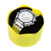 шкафы для хранения наручных часов оптовых-Модный футляр для хранения наручных часов с круглой пластиковой одиночной коробкой для часов