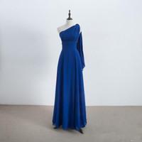 blaues umwandelbares kleid großhandel-Lange Chiffon Cabrio Brautjungfernkleider Royal Blue 2019 New Country Brautjungfernkleider Bodenlangen 100% Real Photo