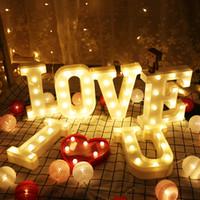 letras de la lámpara al por mayor-LED Marquee Letter Lights Sign 26 Alphabet Light Up Marquee Letters Lamp Sign para boda Fiesta de cumpleaños Festival de San Valentín decoración del hogar
