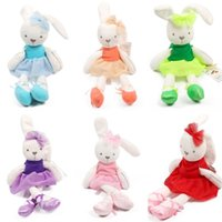 Wholesale bedding for cot beds online - Lovely Bunny Plush Toys Soft Rabbit Stuffed Animals Dolls For Kids Baby Cot Bedding Appease Gift
