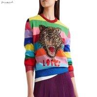 jerseys de piel de conejo al por mayor-Las mujeres suéteres suave piel de conejo de dibujos animados con capucha Tigre bordado de lana suéteres del arco iris Cartas de punto suéteres de mezcla de rayas