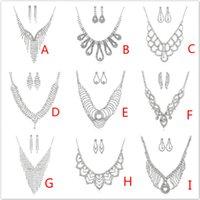 ingrosso orecchino della collana del choker del rhinestone-Set di gioielli di moda di lusso multistrato nappa strass orecchini di cristallo collana set orecchino choker delle donne set per la festa e le nozze