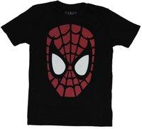 büyük resim baskısı toptan satış-Örümcek-Adam Mens T-Shirt-Büyük kırmızı Siyah beyaz Kafa Görüntü Baskı Kısa Kollu Erkek Üst Yenilik T Shirt Erkekler 'S Marka Giyim