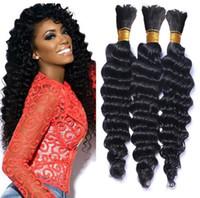 Wholesale deep wave human braiding hair for sale - Group buy Brazilian Hair Human Hair Braids Bulk Deep Wave No Weft Deep Curly Braiding Bulk Hair