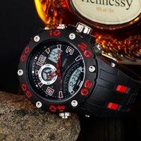 zeitstoppuhr groihandel-Elektronische Dualzeit Herren Armbanduhr Multi-Funktion wasserdicht Sport-Silikon-Mann-Uhr Stoppuhr Kühle Außenlaufuhr