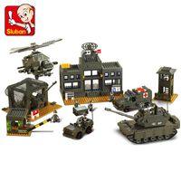 Wholesale bricks toys army online - Legoing Technic Sluban Military Base Mini Bricks Set Sale Army Headquarters Models Building Block Toys for Children B7100