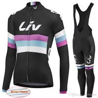 тепловые флис велосипедные трикотажные штаны оптовых-LIV 2017 New Women Winter thermal fleece Велоспорт Джерси велосипед одежда с длинными рукавами велоспорт рубашки + mtb велосипед нагрудник брюки комплект D1113
