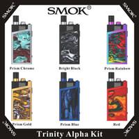 Wholesale alpha metal resale online - SMOK Trinity Alpha Kit ml Cartridge With Nord Mesh Coils Built in mAh Vape Battery Original SMOK E cigarette Pod System Kits