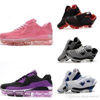 sapatos de corrida grátis rosa cinza venda por atacado-New Hot 2018 90 Preto Branco Das Mulheres Dos Homens Tênis de Corrida Arco-íris Cinza Moda Rosa Tênis Esportivos Formadores Frete Grátis
