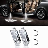 12v llevó luces de sombra al por mayor-LED Mini Logo Puerta del coche proyector de luz láser LED Cortesía Bienvenido ilumina la sombra del fantasma Lámparas de luz para Mini Cooper 12V (2 piezas)