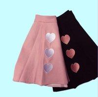 falda mujer amor al por mayor-Primavera y verano nuevas mujeres amor corazón bordado falda de cintura alta y19043002