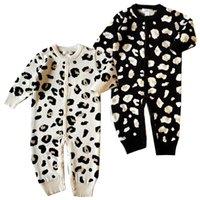 barboteuses à capuchon bébé achat en gros de-Détail Baby Rompers garçons filles manches longues coton léopard à capuche combinaison une-pièce une combinaison combinaisons toddle infantile enfants vêtements de créateurs