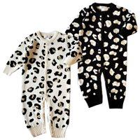 baby mädchen winter kapuzenjacke großhandel-Einzelhandel Baby Strampler Jungen Mädchen Langarm Baumwolle Leopard Kapuzenoverall einteilige Onesies Overalls Toddle Infant Kinder Designer-Kleidung