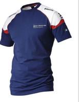 Wholesale race clothes online - Motorsport Crew Neck Short Sleeve T Shirts Mens Slim Motorcycle Racing Clothing Tops Teenager Print Moto Tshirts Hoomes Blue Tees