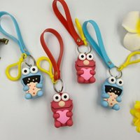 Wholesale Sesame Street Doll PVC Keychain Bag Pendant Keyring for Girls Plush Toy ELMO Keychain Bag Gift Pendant LJJK1315