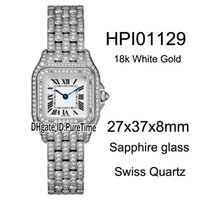 Wholesale swiss diamond 18k resale online - New mm HPI01129 K White Gold Steel Case Diamond White Dial Roma Mark Swiss Quartz Womens Watch Diamond Bracelet Ladies Watches B26 a1