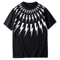 ingrosso disegni di moda magliette-T Shirt di lusso della White Lightning di stampa maniche corte nera del progettista camice delle donne degli uomini estate magliette unisex T S-XXL