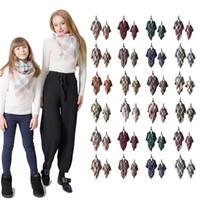plaid schal für kinder großhandel-Eltern-Kind Plaid Pashmina Schal Fashion Mom Kids Übergroße Tartan Wrap Schal Outdoor Quaste Dreieck Schals Warme Decke LJJT1435