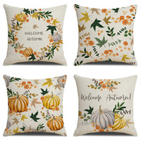 Wholesale kids pillow cases resale online - 45x45cm Styles Thanksgiving Day Pillowcase Pumpkin Pattern Sofa Leisure Square Flax Pillow Cases Pillow Cover Kids Nursery Bedding M526